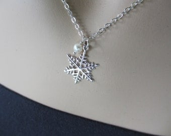 Snowflake Necklace, Holiday Necklace, Sterling Silver, Freshwater Pearl, Modern, Gift for Her, Irisjewelrydesign