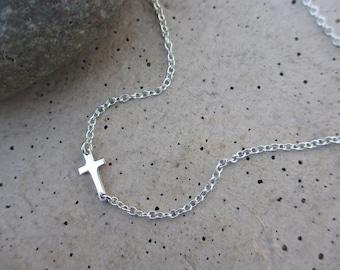 Small Sideways Cross Necklace, Sterling Silver, Tiny Cross, Celebrity Inspired, Silver Cross, Sideway Cross
