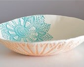 Fiesta Bowl, handmade blue orange and green