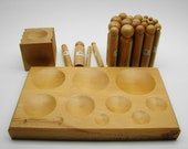 Wooden Round Dapping Kit With 2 Blocks and 24 Pc Punch Set