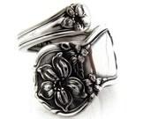 Small Demitasse Spoon Ring Silver Orange Blossom