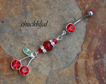 Sweet Red Rhinestone Cherries N Lampwork Glass DeSIGNeR Belly Button Ring Red White Bling Perfect Accent to Your Summer Time Picnic