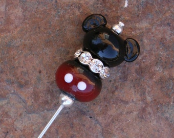 Mickey Mouse Style Stick Pin Disney Inspired DeSIGNeR SRA Lampwork Disneyland Magic Perfect Scarf Blazer Accessory