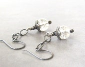 dangle earrings with crackled glass and sterling chains