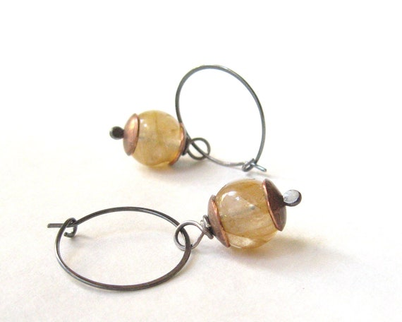 hoop earrings with yellow iron quartz, sterling silver, and copper