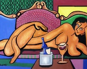 Happy Hour Woman Nude Wine Drinking Cubist Poster Print Anthony Falbo