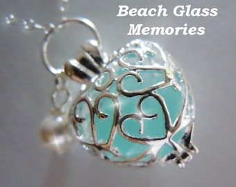 Heart Necklace Authentic Aqua  Seaglass Heart Locket - Beach Glass Locket - Seaglass Heart Sea Glass Jewelry