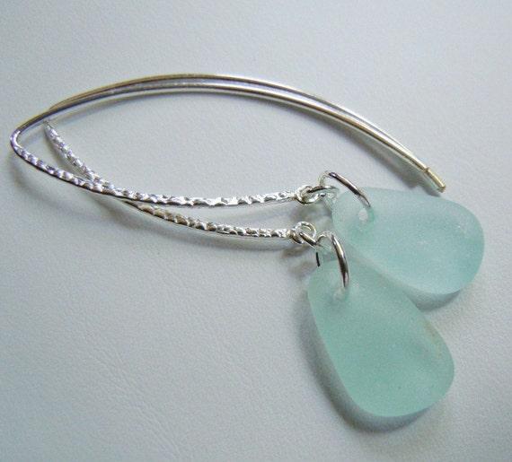 Beach Glass Earrings - Aqua Sea Glass Sterling Earrings