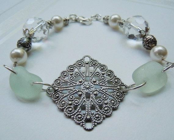 Sea Glass  Bracelet Beach Glass  Seaglass Bracelet