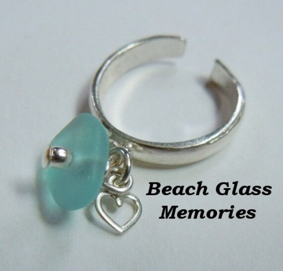 Adjustable Aqua Sea Glass Toe Ring Sterling Silver Ring Beach Glass Seaglass