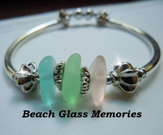 Silver Sea Glass Bracelet with Pastel Beach Glass Jewelry Seaglass Bracelet