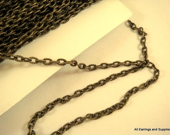 25ft Antique Bronze Chain Iron Cross LF/NF Iron 4x3mm Not Soldered - 25 feet - STR9013CH-AB25