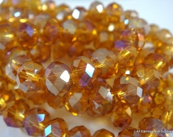 50 Honey Glass Bead AB Faceted Amber Rondelle Abacus 6x4mm - 50 pc - G6026-HY50