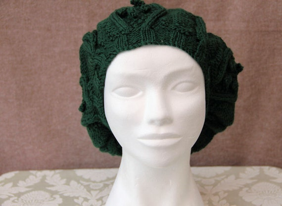 Bottle Green Cable Knit Hat