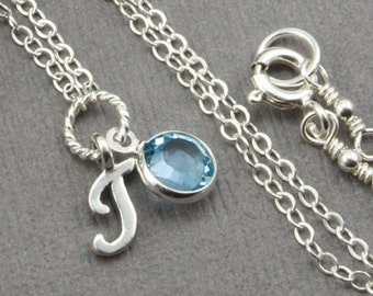 Personalized Necklace - March Birthstone Necklace Aquamarine Necklace - Personalized Jewelry Birthstone Jewelry - Initial Necklace