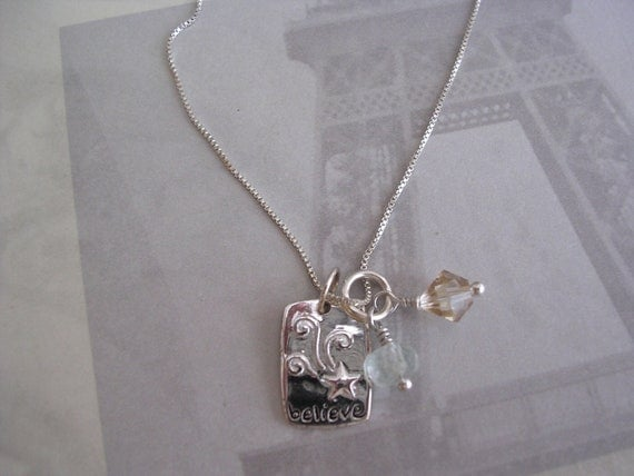 Sterling Believe Charm Pendant Necklace