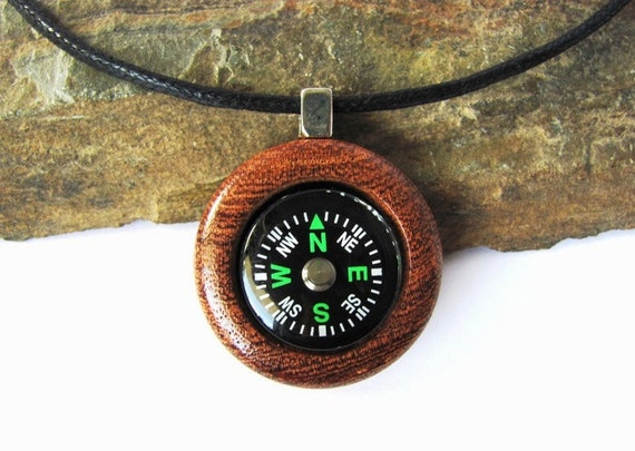 Compass Necklace Pendant Mesquite Wood Eco Friendly Jewelry by Hendywood