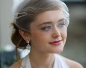 Bridal Birdcage Veil Single Layer Tulle in Matte Ivory or White Easy Fit  Bandeau Style by Fine & Fleurie