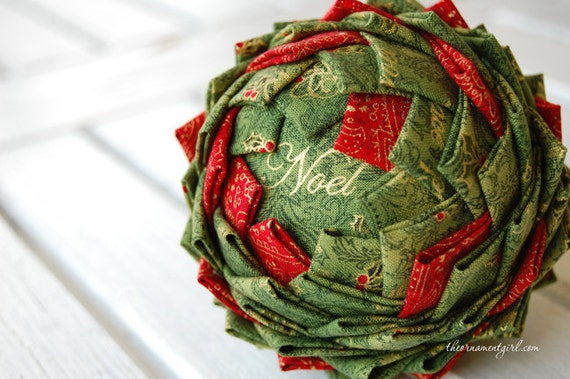 TUTORIAL - Quilted fabric pine cone ornament pattern - pineapple ball