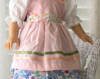 Handmade Doll Clothes Blue Floral print Fits 18 inch dolls
