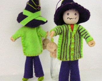 Halloween felt art doll hanging ornament Trick-or-treat bones boy Halloween decoration, Felt ornaments