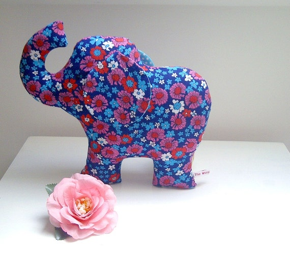 Cute Little Toy Elephant Plush in Vintage Navy, Turquoise and Red Flower Fabric