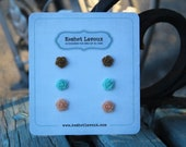 Vintage inspired Shabby Chic multi color pack  post earrings for girls, tweens, flower girls, birthday party favors