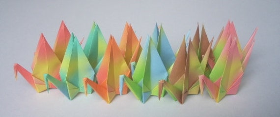 12 Japanese Paper Cranes in Assorted Colors