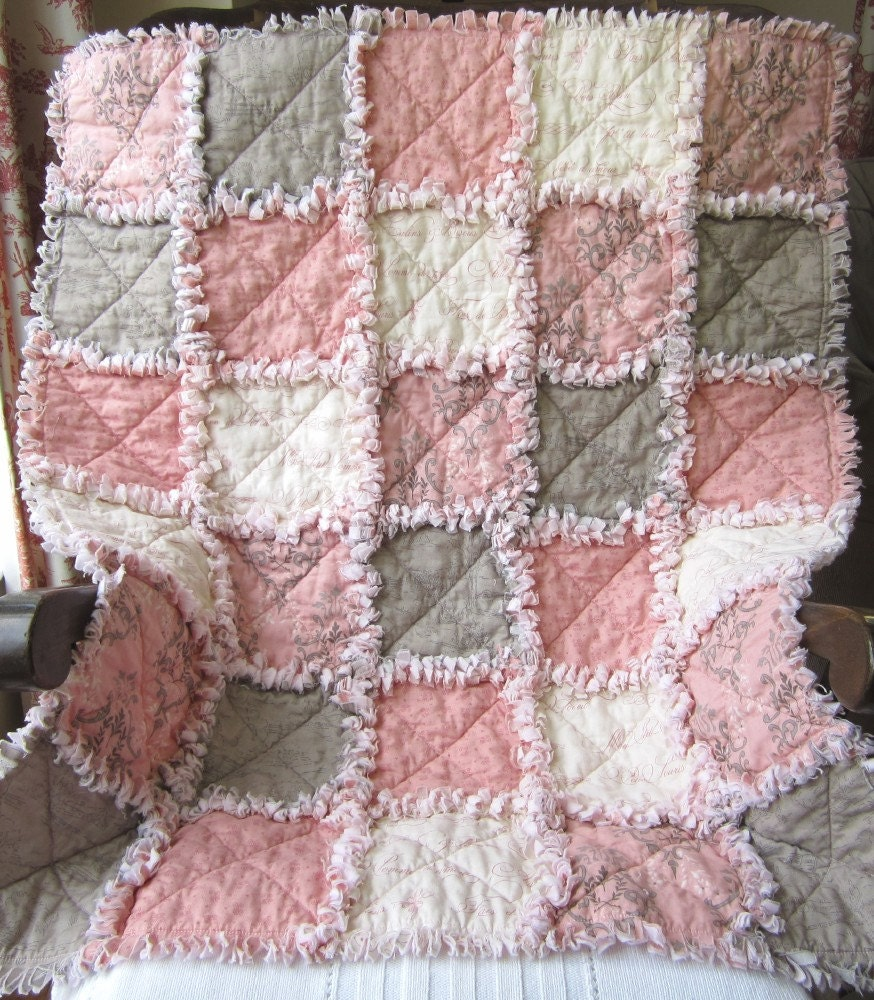French Country Baby Girl Quilt Rag Quilt Pink Gray