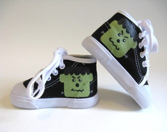 Frankenstein Shoes, Halloween Monster Sneaker, Halloween Outfit, Monster Theme Party, Hand Painted Black Hi Tops for Baby or Toddler