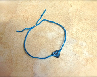 Cute bright blue tattoo style faux diamond best friend friendship wish bracelet fully adjustable