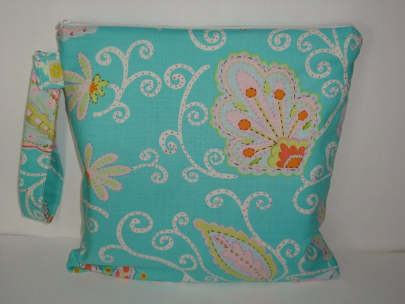 "Wet bag Waterproof , Pretty little thingd Madeleine in teal fabric Cloth diaper zipper pouch , gym sports bag ,Snap handle 10""x 10"""