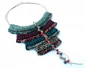 BY NIGHT Cotton yarn Crochet Ethnic Tribal Necklace Twine Teal Lead Red Blue Cream Crystals