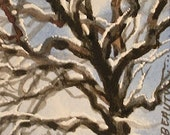 First snow ACEO original tree painting