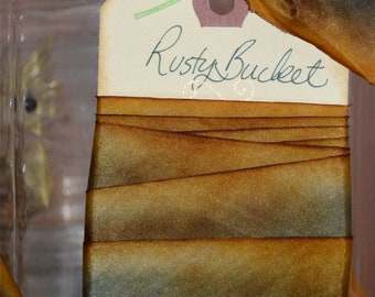 Rusty Bucket - Hand Dyed Silk Ribbon by Hanah Silk 1 inch wide