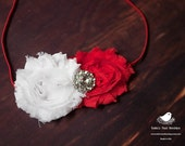 White & Red Shabby Chic flowers with rhinestone headband baby-adult sizes available-Great Photography Prop or Christmas