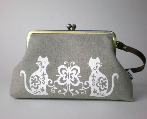 Leather handle Linen quilted purse, camera, iPod, phone, Cats in Ash grey