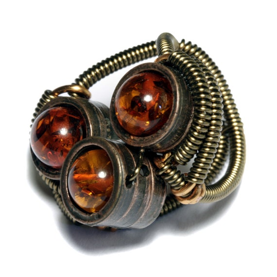 Steampunk Jewelry - Ring - Triple Amber - SIZE 8 ONLY