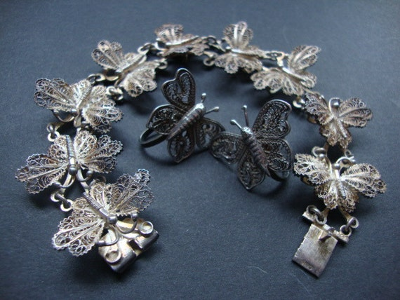 Vintage Mexico Silver Filligree Butterfly Link Bracelet and Earrings Demi Parure