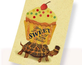 Printable PDF Cute Turtle & Giant Cupcake Romantic Card Instant Download Retro Sweet Cherry  I Love You, Anniversary, Thinking of You