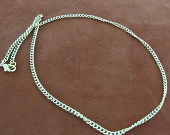 Gold Plated Metal 3mm Wide Chain Necklace with Lobster Clasp, Sold Individually, A035A-3