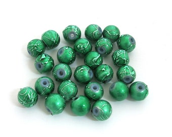 Green with Green metallic speckles Acrylic Beads, 8mm round. Sold per pkg of 26, 1059-43