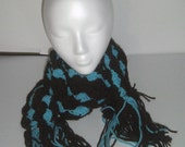 Crochet Scarf - Chocolate Turquoise Scarf - Long Skinny Scarf - Crocheted Scarves - Long Fashion Scarf - Shell Stitch Scarf - Fancy Scarf