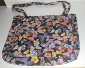 Black Butterfly Tote Bag - Shoulder Bag - Market Bag - Reusable Shopping Bag - Butterfly Bag - Pocket Tote Bag - Carry All Bag