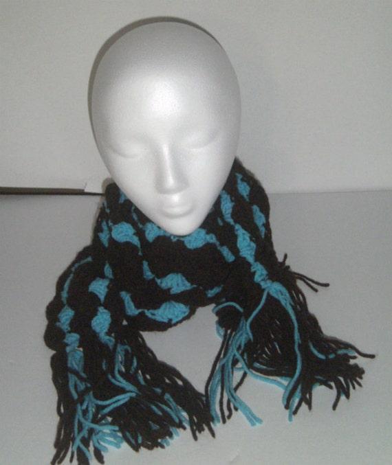 Crochet Scarf - Chocolate Turquoise Scarf - Long Skinny Scarf - Crocheted Scarves - Long Fashion Scarf - Shell Stitch Scarf - Fancy Scarf
