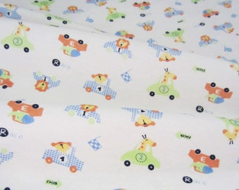 3028 - Animal Racing Car Cotton Jersey Knit Fabric - 68 Inch (Width) x 1/2 Yard (Length)