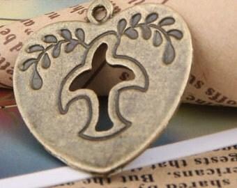 6pcs 26x24mm antique bronze dove heart charms pendants (J441)