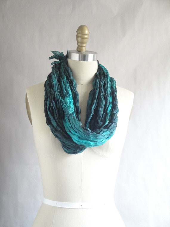 RESERVED / Turquoise Silk Scarf / Hand Dyed Silk Scarf / Fiber Art / Unisex Silk Scarf / from Pleated Silks Collection - Aqua Di Mare