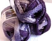 Red Heart Sashay yarn, BOOGIE, Flamenco yarn,  ruffled scarf yarn,  super bulky weight,  purple shades