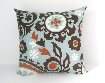Blue Pillow Cover Decorative Pillow Cover Suzani Pillow Cover Size Choice